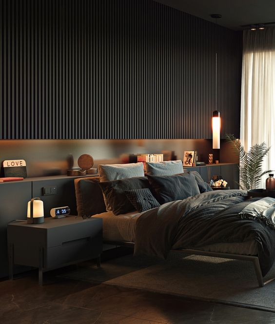 Современная спальня в темных тонах